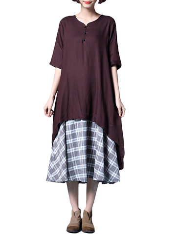 Women Vintage Fake Two Pieces Short Sleeve Plaid Knit Long Maxi Dress