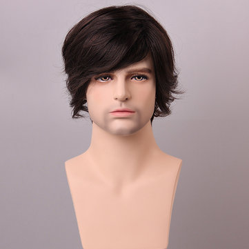 Medium Brown Men Human Hair Wig Male Mono Top Virgin Remy Capless Side Bang Fluffy d