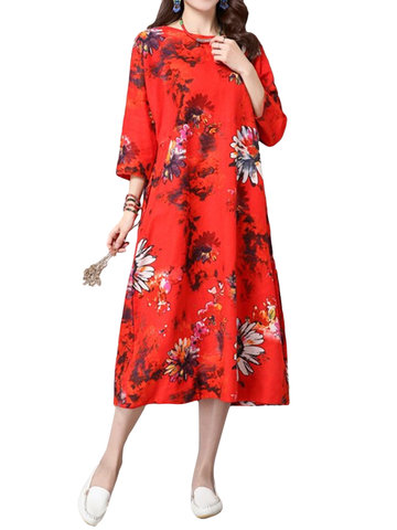 Women Loose Ethnic Style Chrysanthemum Flower Printed Dress