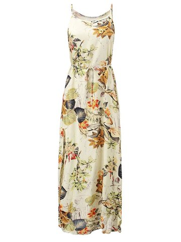 Bohemia Mujeres Correa Floral Printed Split Maxi Beach Dress