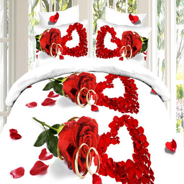 Buy Suit 3D Love Red Roses Reactive Dyeing Polyester Fiber Bedding Sets Queen Size