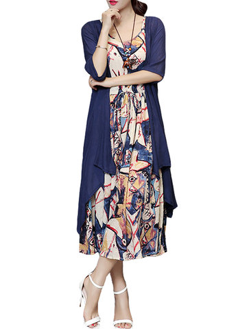 Women Two Pieces Floral Printed Long Maxi Vintage Dress