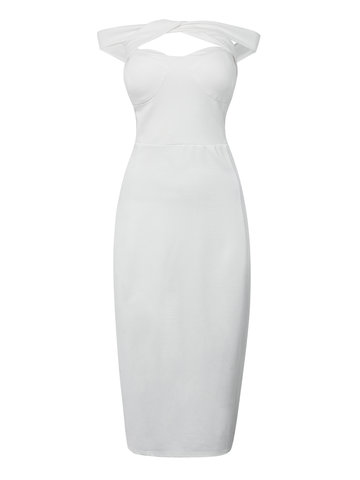 Halter Hollow Out Strapless White Party Sexy Women  Bodycon Pencil Dress