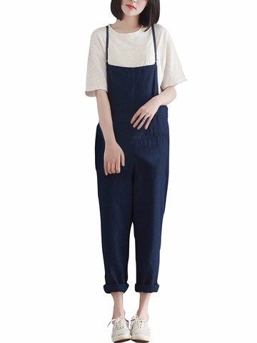 Casual Pure Color Pocket Strap Pants Jumpsuits For Women