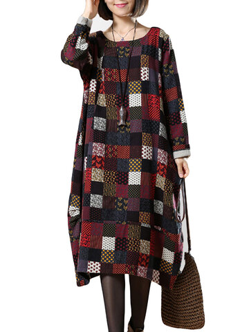 O-Newe Plus Size Color Block Plaid Long Sleeve Dress For Women