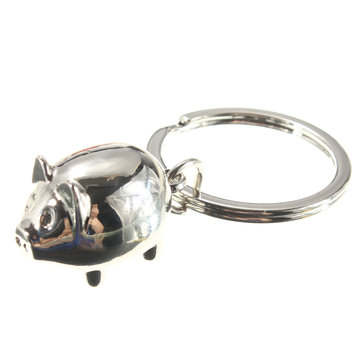Lovely Silver Pig Charm Alloy Keychain