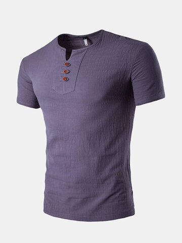 Mens Summer Linen Solid Color Short Sleeve T-shirt V-neck Button Top Tee