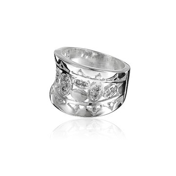Punk Silver Plated Crystal Ring