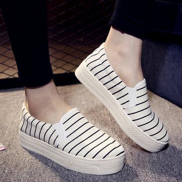 Полосатый холст, блокирующий цвет, плоские туфли для женщин