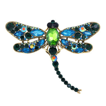 Luxury Dragonfly Rhinestones Crystal Brooch Pin Sweater Suit Badge Gift For Women Men