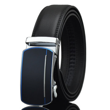 125-130CM Men Business Second Layer Leather Belt Casual Automatic Buckle Leather Waistband Straps