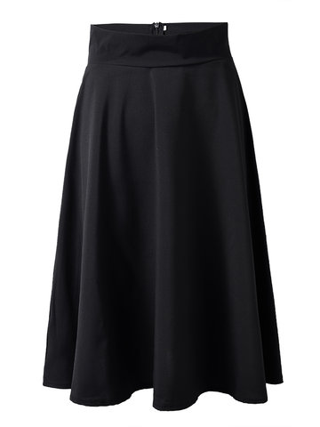 High Waist Swing Zipper Ball Gown OL Skirts