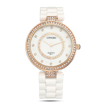 LONGBO Luxury Watch Ceramics Rhinestone Quartz Watch for Couple Gift