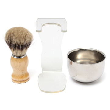 Men Shaving Kits Badger Hair Brush  Clear Brush Stand Stainless Steel Bowl