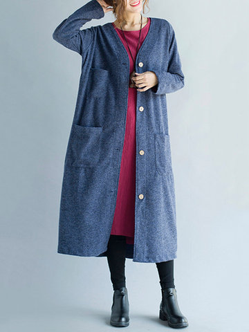 Elegant Pure Color V-Neck Button Pocket Long Cardigan For Women