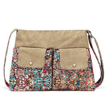 Brenice Vintage Canvas Casual Floral Shoulder Crossbody Bag For Women