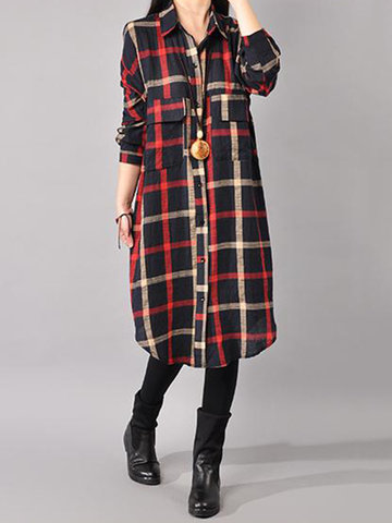 Gracila Casual Loose Plaid Front Closure Dresses