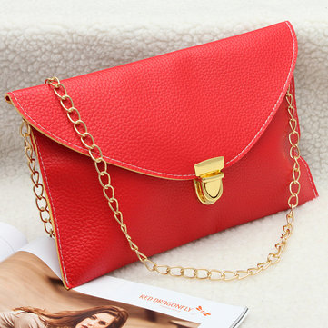 Women PU Leather Crossbody Bag Envelope Clutch Chain Shoulder Bag