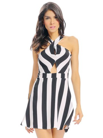 Women Sexy Stripe Halter Hollow Pleated Backless Sleeveless Mini Dress