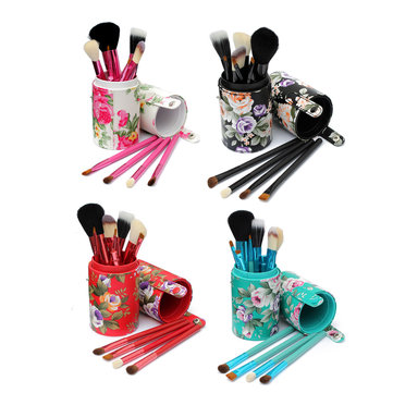 12Pcs Makeup Brushes Set Eyebrow Powder Lip Brush with Storage Case Box 4 Colors