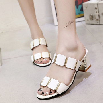 Paillette Shiny Chunky Heel Peep Toe Korean Style Outdoor Sandals