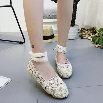 Hollow Out Strappy Linen Soft Sole Flat Shoes