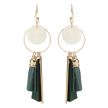Gold Plated Shell Decorate Wood Leather Tassels Earring Ear Drop