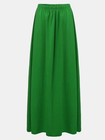 Elegant Women High Waist Pure Color Long Maxi Skirt