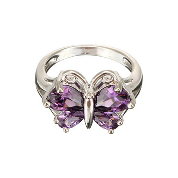 Zircon Crystal Butterfly Platinum Plated Ring