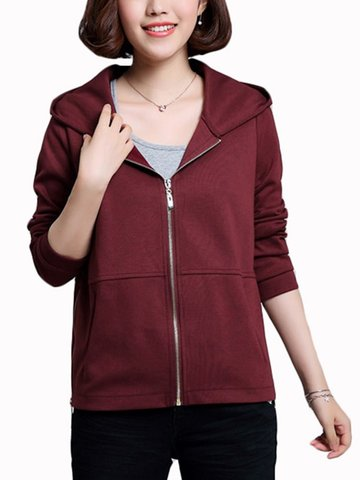 Women Active Hooded Zipper Type Running Sweatshirts