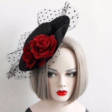 Cosplay Elegant Hat Cotton Lace Rose Flower Retro Hair Clip Hat