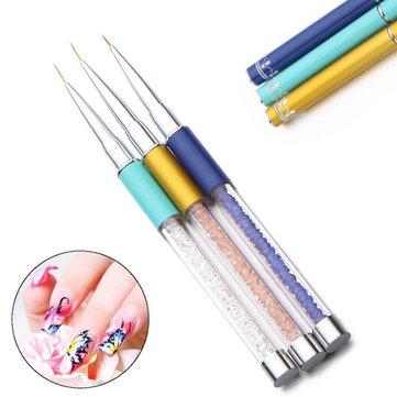 3Pcs Nail Art Painting Pen Lines Brush Set Polish Tips Manicure Pedicure Drawing Tool kit