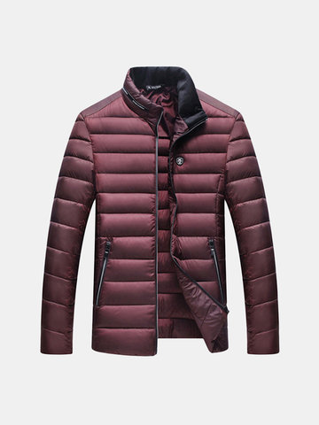 Winter Casual Thicken Warm Chest Logo Solid Color Puffer Jacket for Men