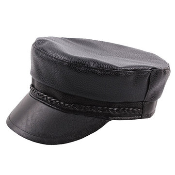 Men Genuine Leather Cowhide Flat Cap Solid Army Hats Classic Hand-Made Beret Cap Duck Cap