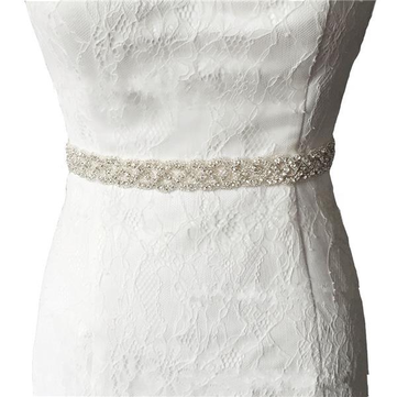 Bride Bead Rhinestone Ribbon Sash Belt Diamond Crystal Wedding Formal Dress Accessories