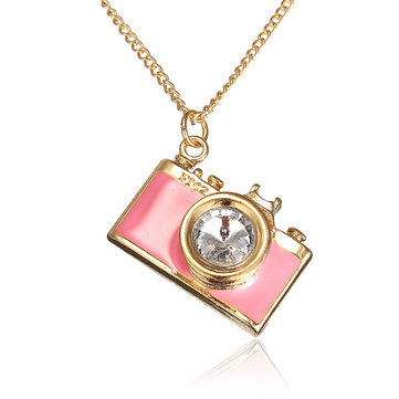 Rhinestone Camera Shaped Pendant Sweater Necklace
