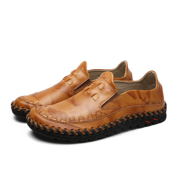 men casual leather business shoes comfortable round toe
