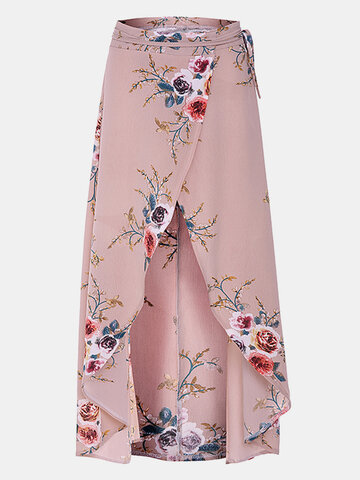 Sexy Floral Print Irregular Slit Hem Skirt For Women