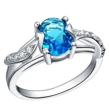 Ovaler Zirkon-18K Platinum-Blatt-Finger-Ring