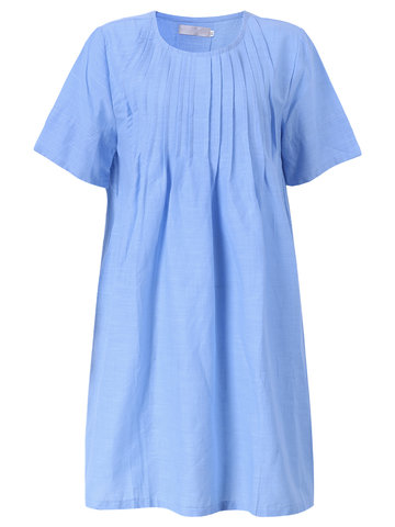 Casual Solid Ruffle O-Neck A-line Dress For Women