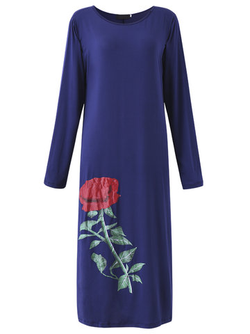 Sexy Rose Printed Long Sleeve Pencil Dress Maxi Dress For Women