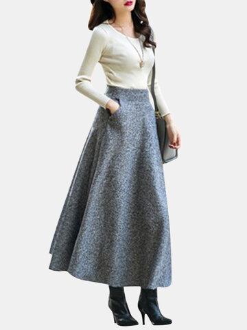 Повседневный сплошной цвет Loose Hem Женские юбки