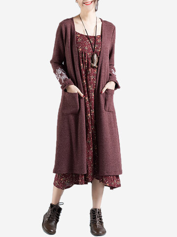 Embroidered Long Sleeve Knitted Cardigans