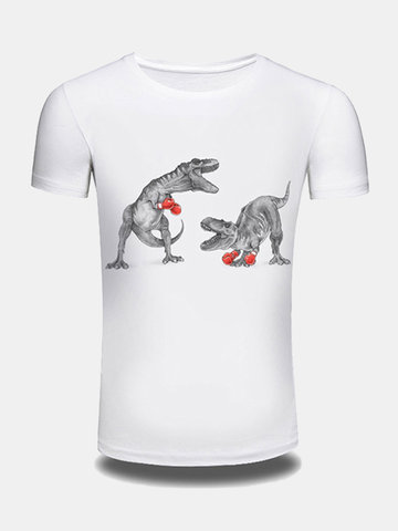 Summer Creative 3D Dinosaur Printed O-neck Short Sleeve Casual T-shirt for Men