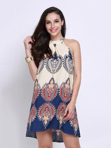 Женщины без рукавов печати платье мини платье
