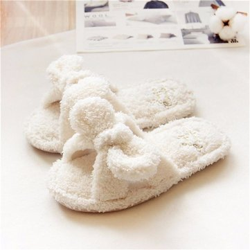 Cute Bowknot White Slip On Open Toe Flat Home Indoor Slippers