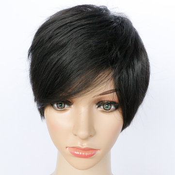 10 Inch Straight Short Synthetic Hair  High Temperature Fiber With Oblique Bangs