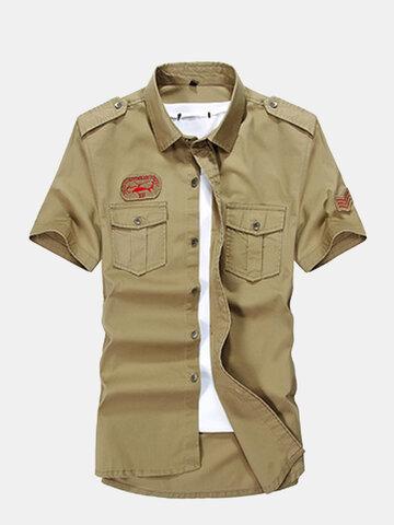Летняя мужская военная наружная вырезка с воротником с короткими рукавами хлопчатобумажных повседневных рубашек
