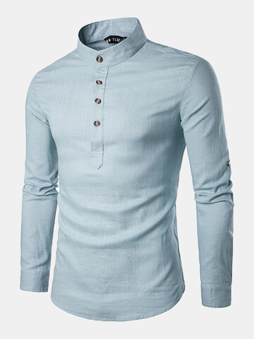 Mens Linen Chinese Collar T-shirt Buttons Breathable Long Sleeve Brief Retro Style Solid Color Tops