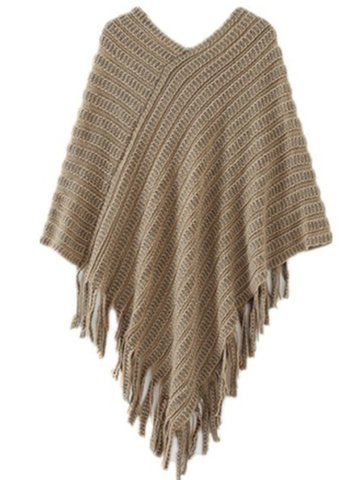 Women Batwing Sleeve V Neck Tassels Knitwear Sweater
